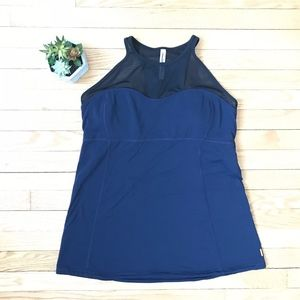 Lucy Back Blue Tank XL Built-In Bra Mesh Top